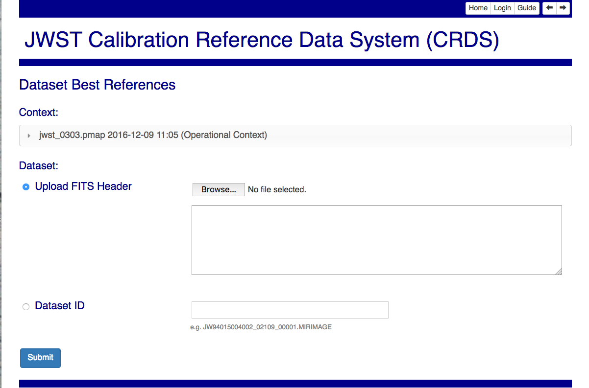using the crds web site crds documentation dataset based best references input page